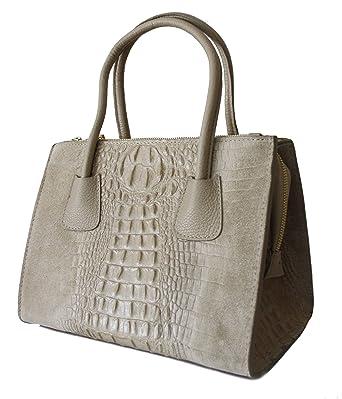 55e2a7bd313493 Sa Lucca elegante echt Leder-Tasche Kroko Wildleder Schultertasche Shopper  Henkeltasche Damentasche taupe