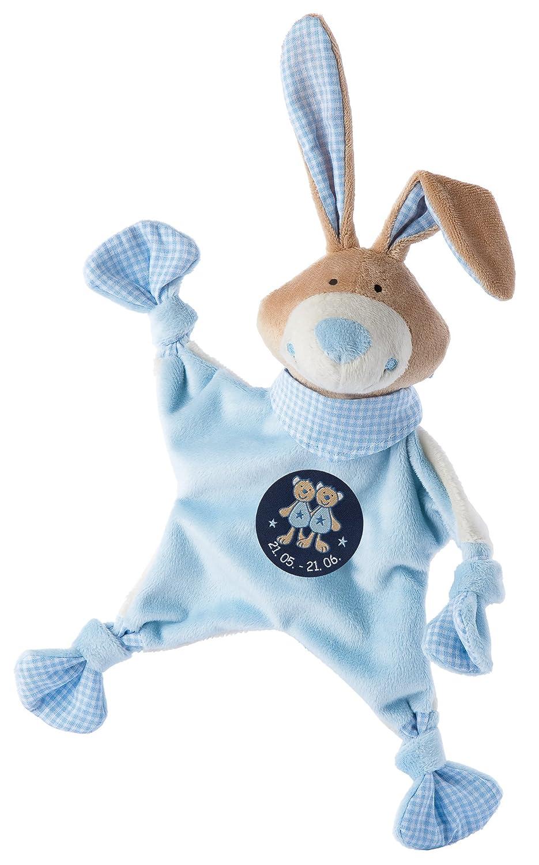 Sigikid 48830 - Mantita de seguridad con diseño de conejo y símbolo de Géminis, color azul