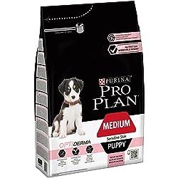 PRO PLAN Medium Puppy Sensitive Skin avec OPTIDERMA Riche en Saumon - 3 KG - Croquettes pour chiot de taille moyenne