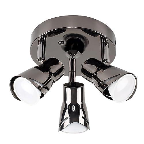 Modern Black Chrome 3 Way Sleek Round Adjustable Ceiling Spotlight