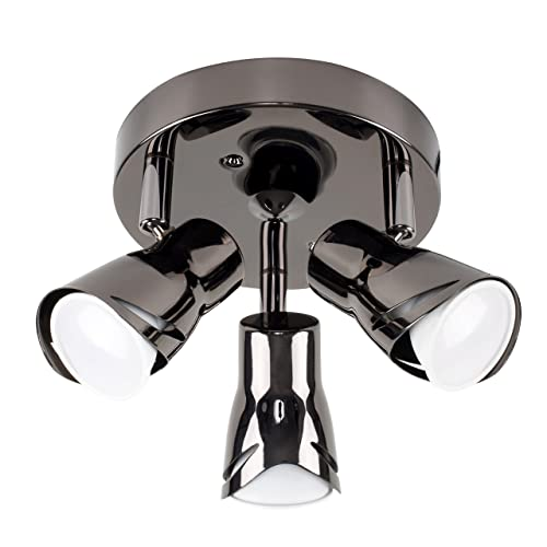 Modern Black Chrome 3 Way Sleek Round Adjustable Ceiling Spotlight