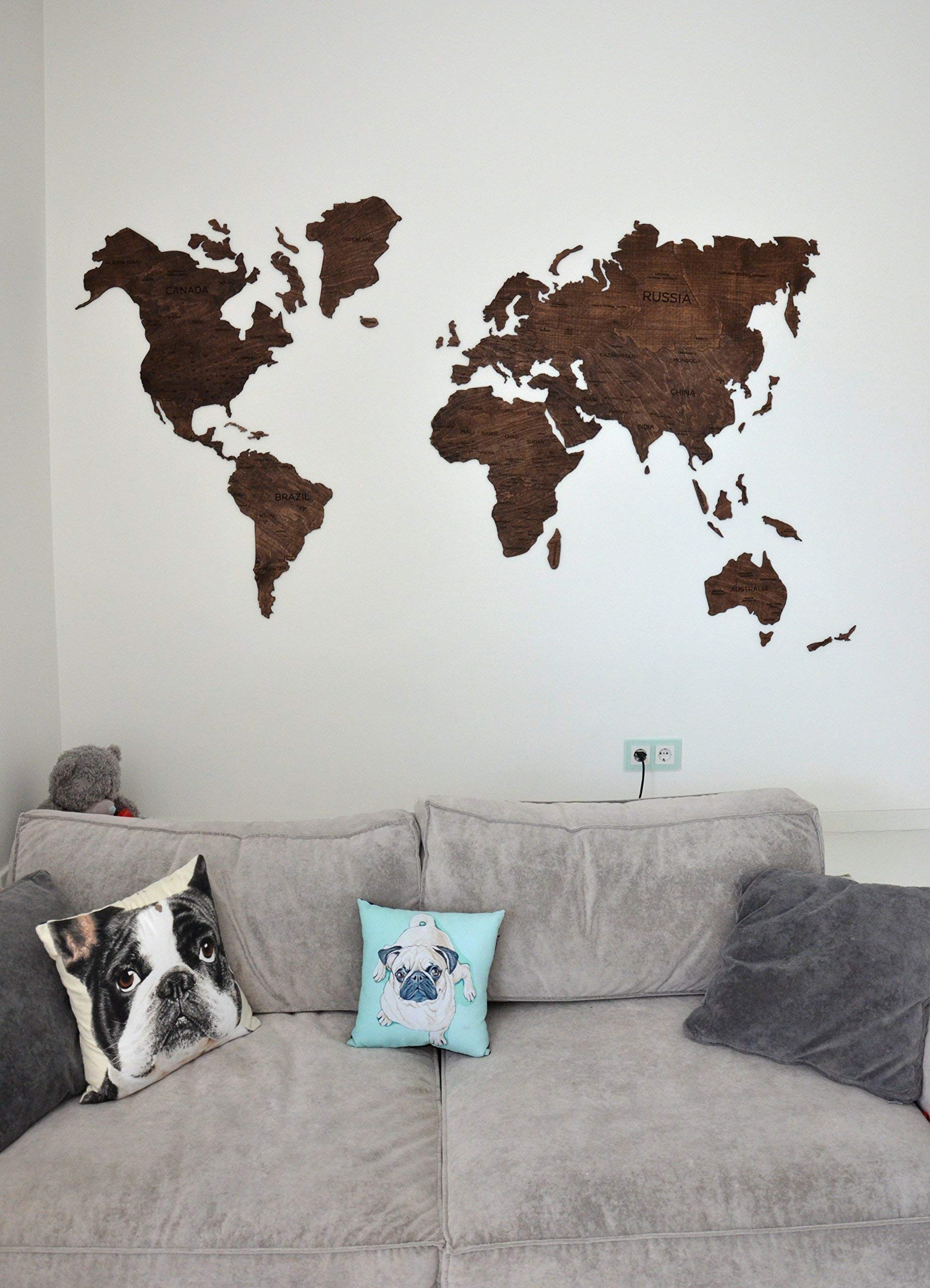 Wood World Map Wooden with country names capitals educational cities ...