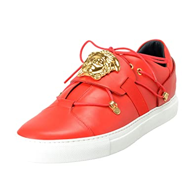 Amazon.com: Versace Men's Red Leather Medusa Slip On ...
