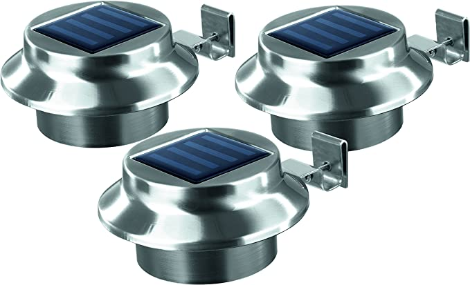 Solarpanel 3er Set N Easymaxx LED Dachrinnenleuchten aus Edelstahl mit integr
