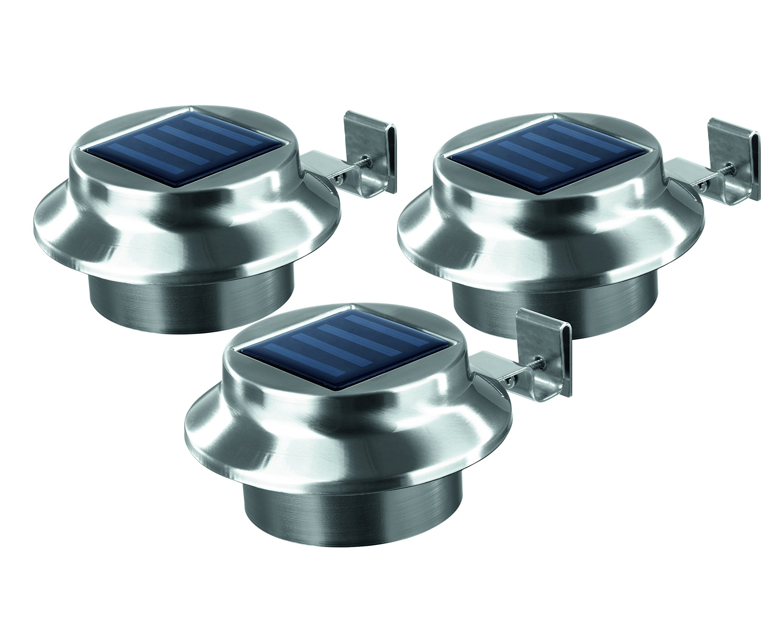 Solar Gutter-Lights | Outdoor Lighting, Set of 3 | Stainless Steel | Weather resistant, Easy to install, Wireless, bright