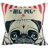 "Luxbon - Lovely Hug Pug Dog Cotton Linen Sofa Couch Seat Throw Pillow Case Home Decor Puppy Animal Cushion Cover 18 x 18""/45X45cm"