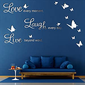 DIY Mirror Love Every Moment, Live Beyond Words, Laugh Every Day Wall Stickers with 12 Pieces 3D Butterfly Removable Mural Stickers for Home Decoration Decal, 3 Letters L and 2 Boards (Silver)