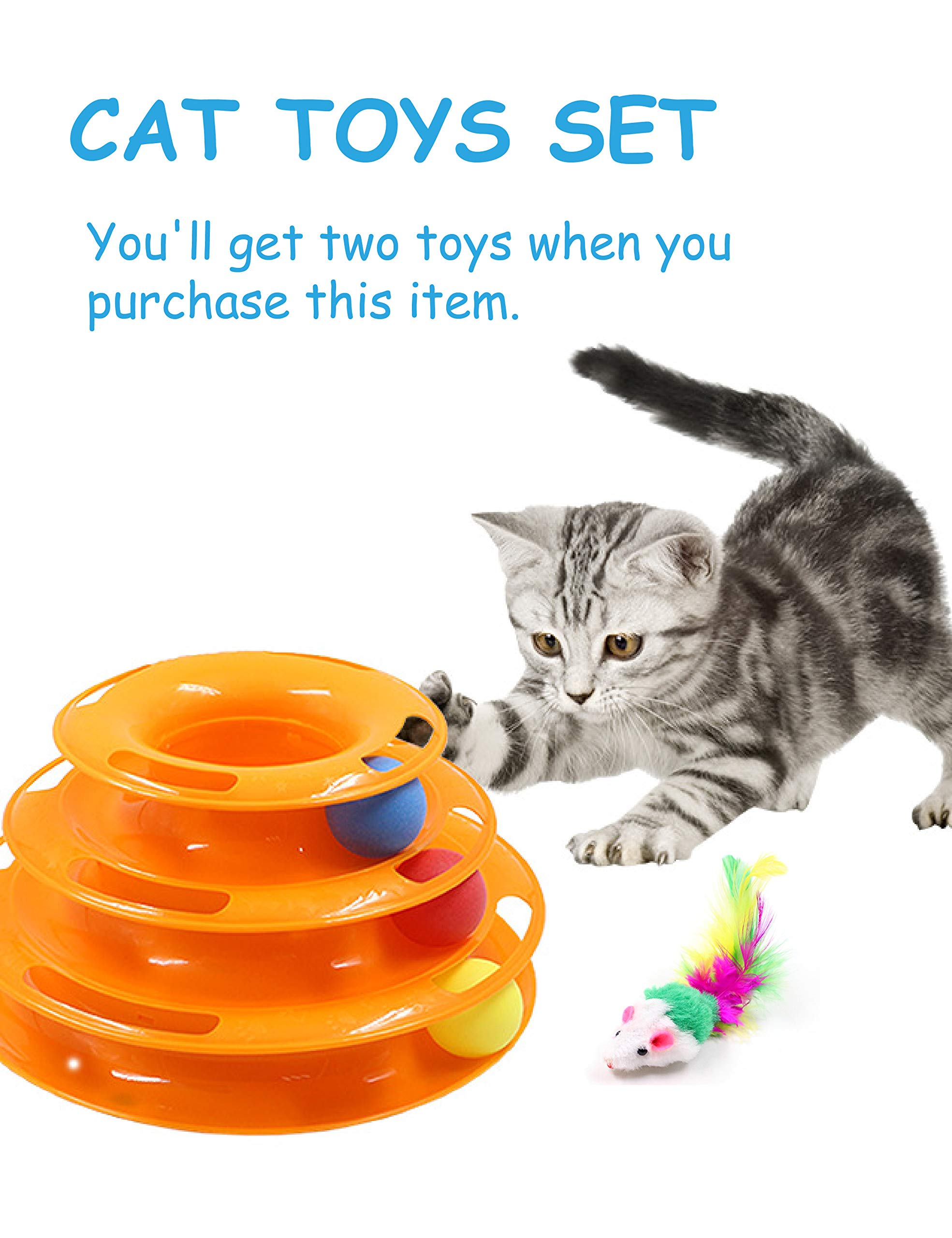 Petove Cat Toys Tower of Tracks 3 Level Cat Tracks Interactive Ball Toy and Feather Fluffy Mouse Toy Set for Cat, Kitten (Orange) by Petove (Image #6)