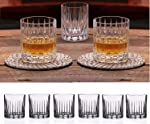 Double Old Fashioned Crystal Glasses, Set of 6 Whiskey Glasses, Perfect