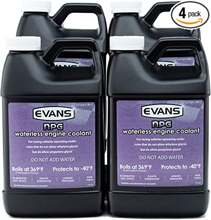 Ethylene Glycol Coolant >> Evans Ec10064 Waterless Race Track Specialty Coolant Npg 64 Fl Oz 4 Pack With Funnel