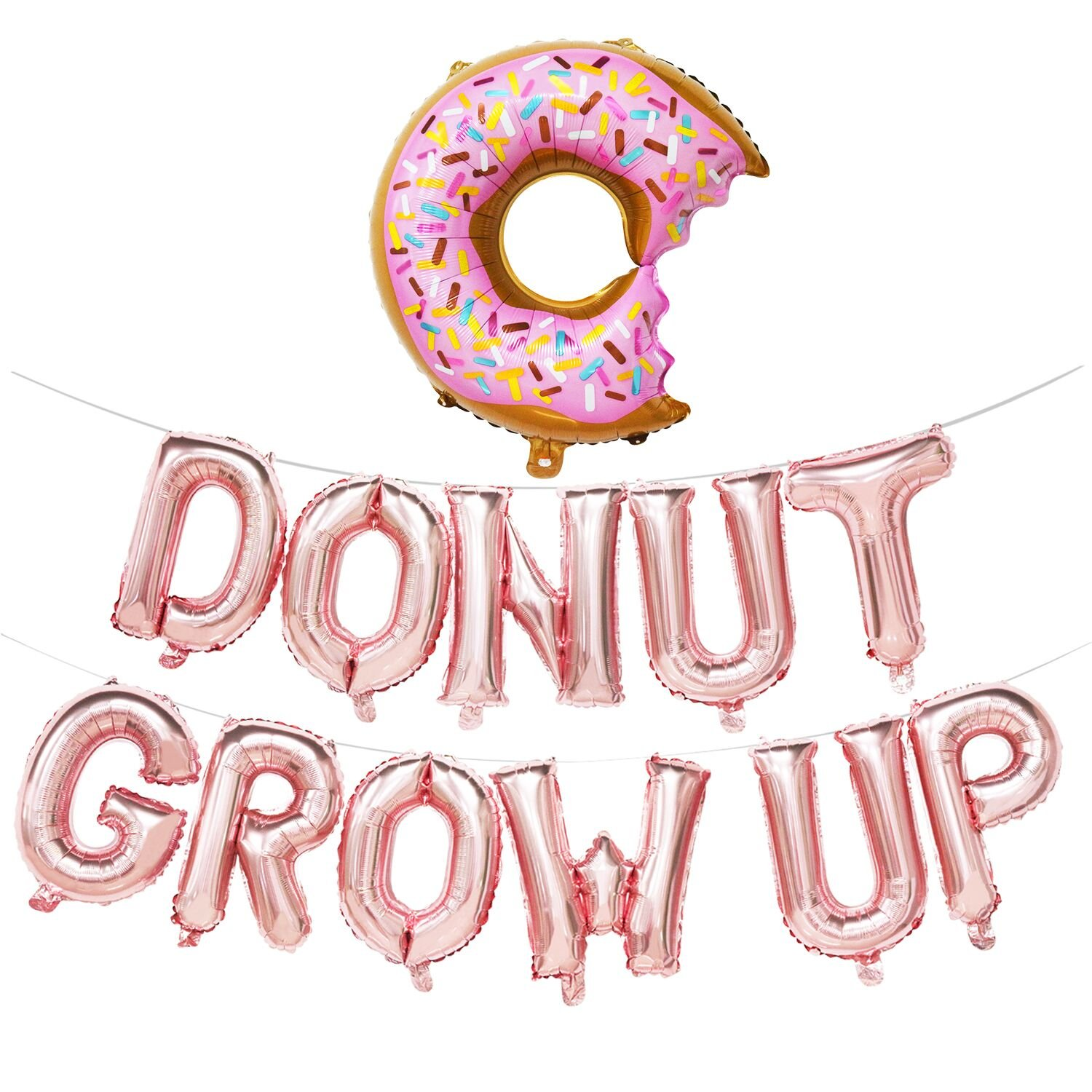 Donut Grow up Balloons | Donut Grow up Birthday Banner | Donut Birthday Party Decorations | Donut Theme Party Supplies | Donut Shape Balloons (Rose Gold) by Mosoan