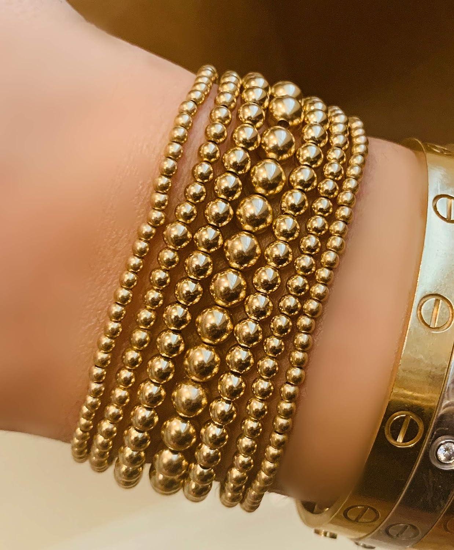 "5138b0e2248 Amazon.com: 14K Gold Filled Seamless Beaded Ball Bracelet, 3mm, Stacking  Stretch Bracelet, Layering Jewelry, 6.5"": Handmade"