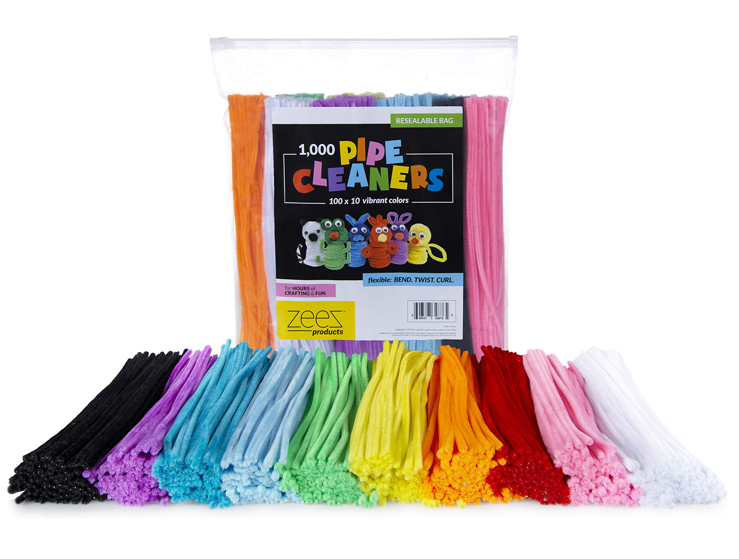Zees 1,000 Pipe Cleaners in 10 Assorted Colors, Value Pack of Chenille Stems for DIY Arts and Craft Projects and Decorations - 6mm x 12 Inches by zees products (Image #6)