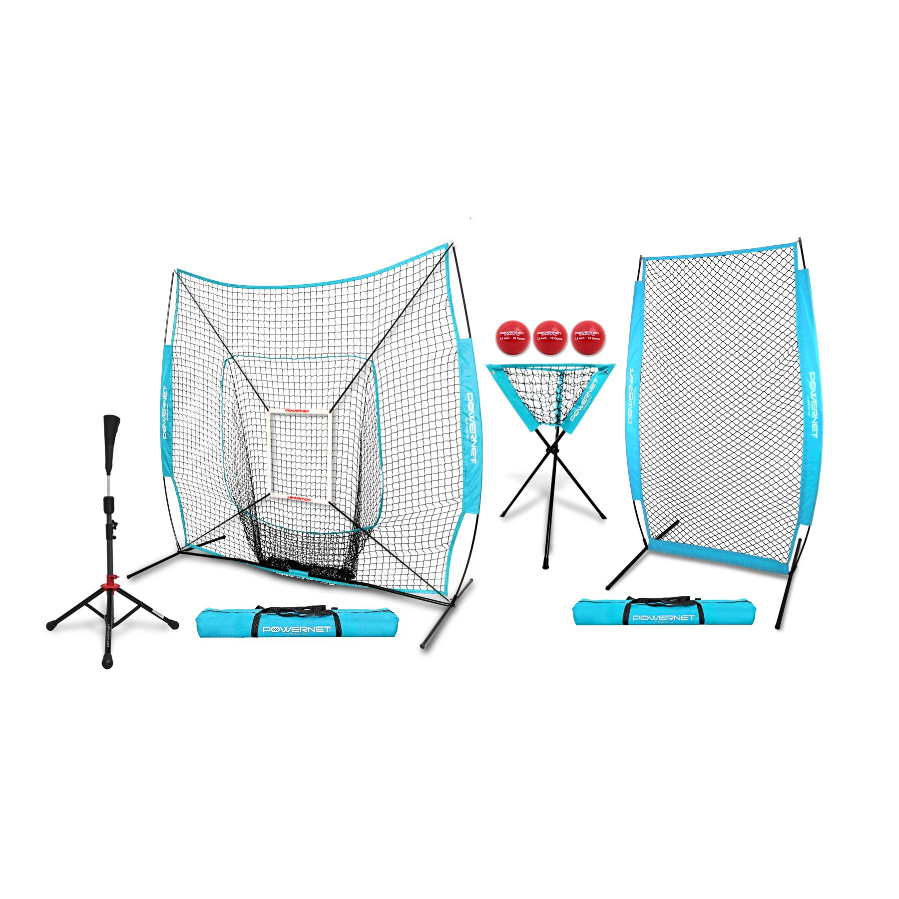 PowerNet [ALL IN ONE COACH BUNDLE (Sky Blue) 7x7 DLX Practice Net + I-Screen + Deluxe Tee + Ball Caddy + 3 Pack Weighted Training Ball + Strike Zone Bundle | Baseball Softball Pitching Batting by PowerNet