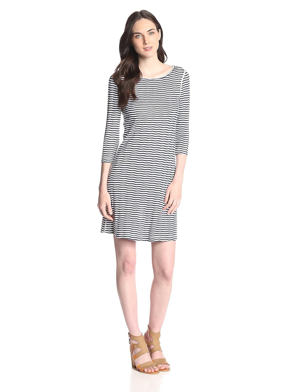 White Three Dots Women's Chevron Stripe Boat Neck Dress