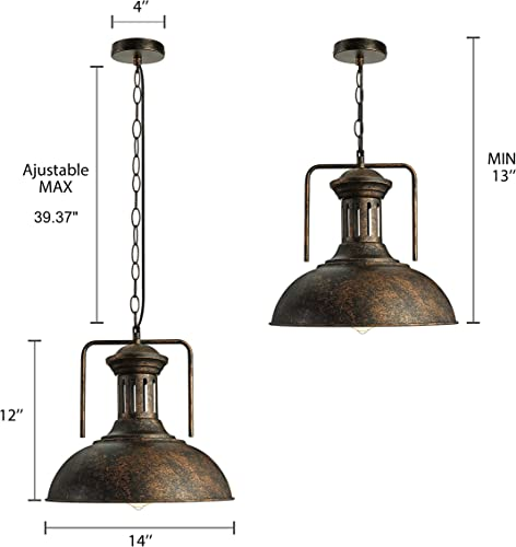 KWOKING Lighting Industrial Barn Pendant Light Vintage Pendant Lamp Hanging Lights Ceiling Lamp Chandelier with Dome Shade in Rust Finish