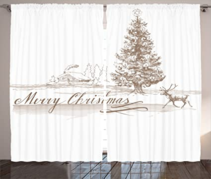 Ambesonne Christmas Decorations Curtains Romantic Vintage Merry Scene With Reindeer Tree Star Holy Religious