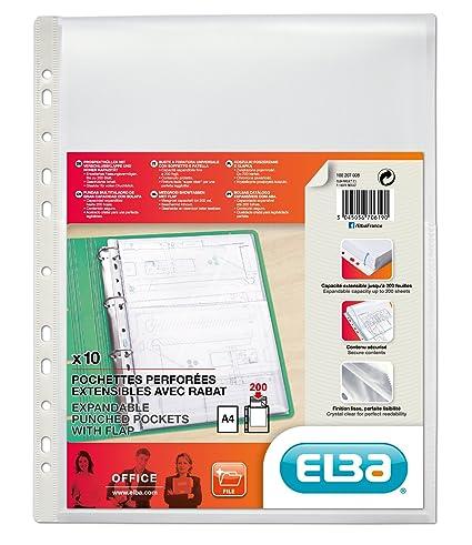 Elba 100207008 - Bolsa de 10 fundas multitaladro gran capacidad con solapa