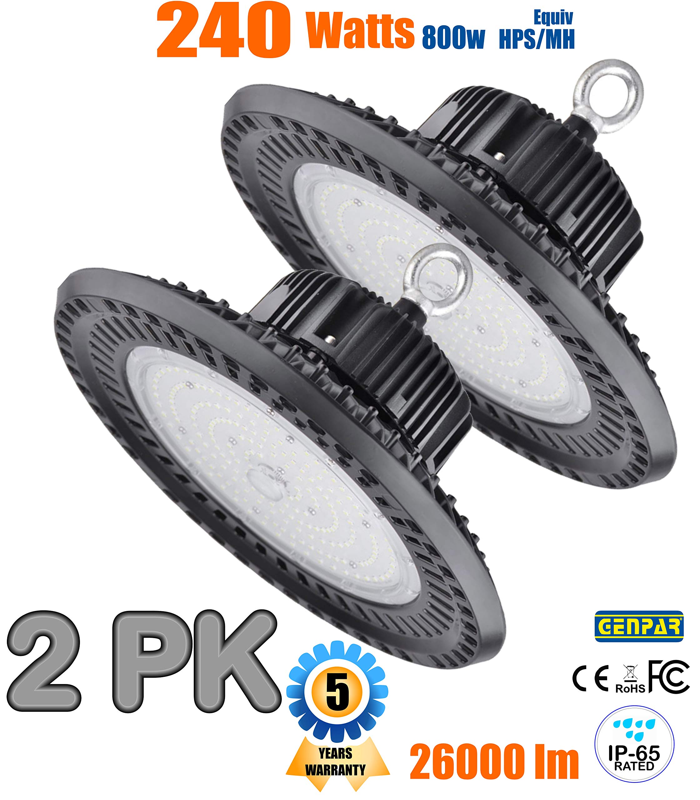 GENPAR 240W UFO LED High Bay Light 800W HPS/MH Equivalent 26000LM lumens Daylight White 6000-6500K IP65 Waterproof Warehouse Lighting Fixture Commercial Lighting Factory Shop Industrial Garage (2-PK) by GENPAR (Image #1)