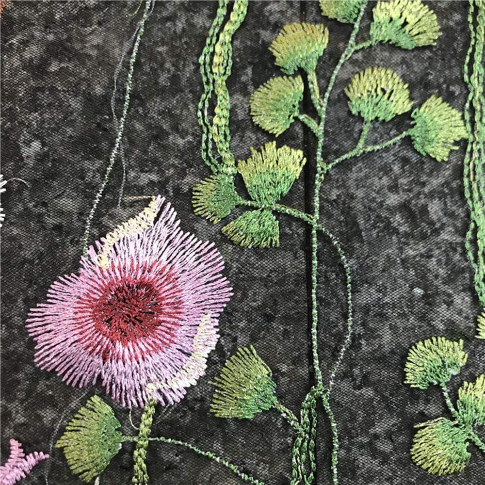 100x120 cm//39.37x47.2 Nero, Venduto al Metro YM YOUMU Tessuto di Pizzo Ricamato con Motivo Floreale per DIY Abito da Sposa