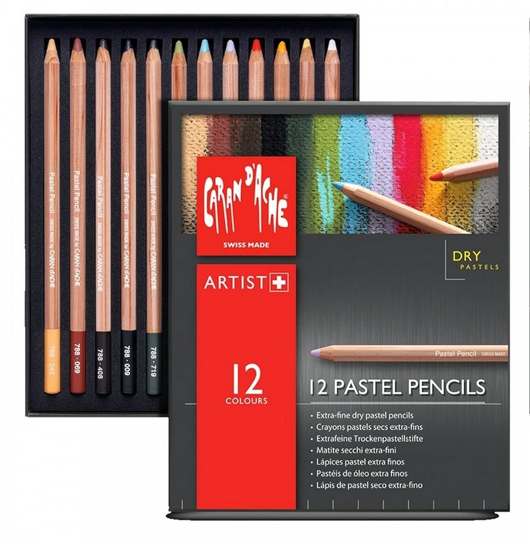 Caran Dache Set Of 12 Extra Fine Dry Pastel Sketching Pencils Artist Colour Art Case Set 0788_312