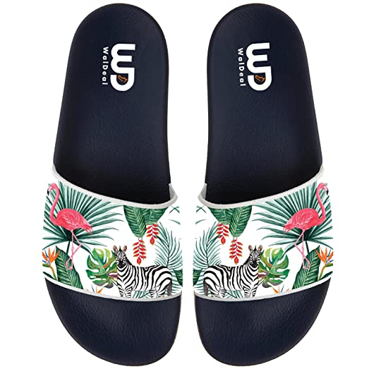 Nature Zebra Flamingo Summer Non-slip Slide Sandals Home Shoes Beach Swim Indoor and Outdoor Slipper Women Men