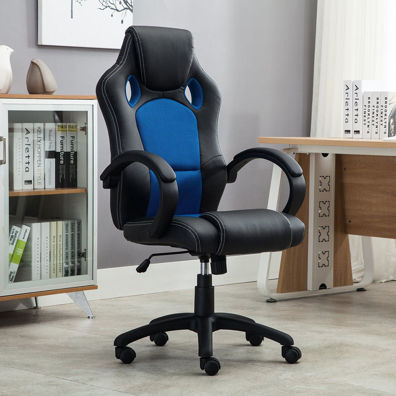 amazoncom belleze racing high back office chair pu leather computer desk gaming swivel wheel seat blackblue kitchen u0026 dining