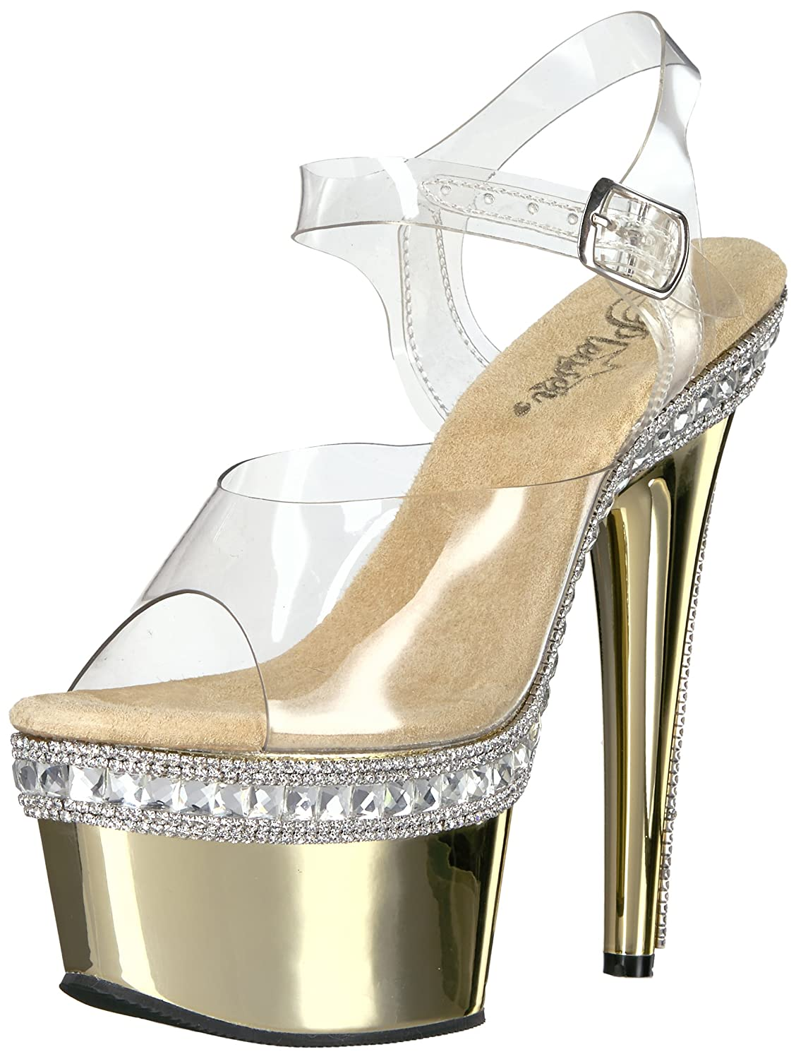 Pleaser Women's Ado708rs-1/C/Gch Platform Sandal B01ABTC49E 6 B(M) US|Clr/Gold Chrome