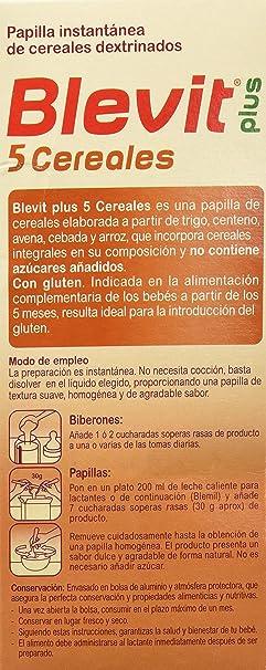 Blevit Plus 5 Cereales para bebé - 2 de 300 gr. (Total 600 gr.): Amazon.es: Alimentación y bebidas