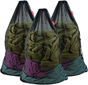 Meeall Mesh Laundry Bag Large Heavy Duty Mesh Wash Bag with Drawstring Closure for Factories, College, Dorm and Travel, 24 x 36 inches, 3 Pack, Black