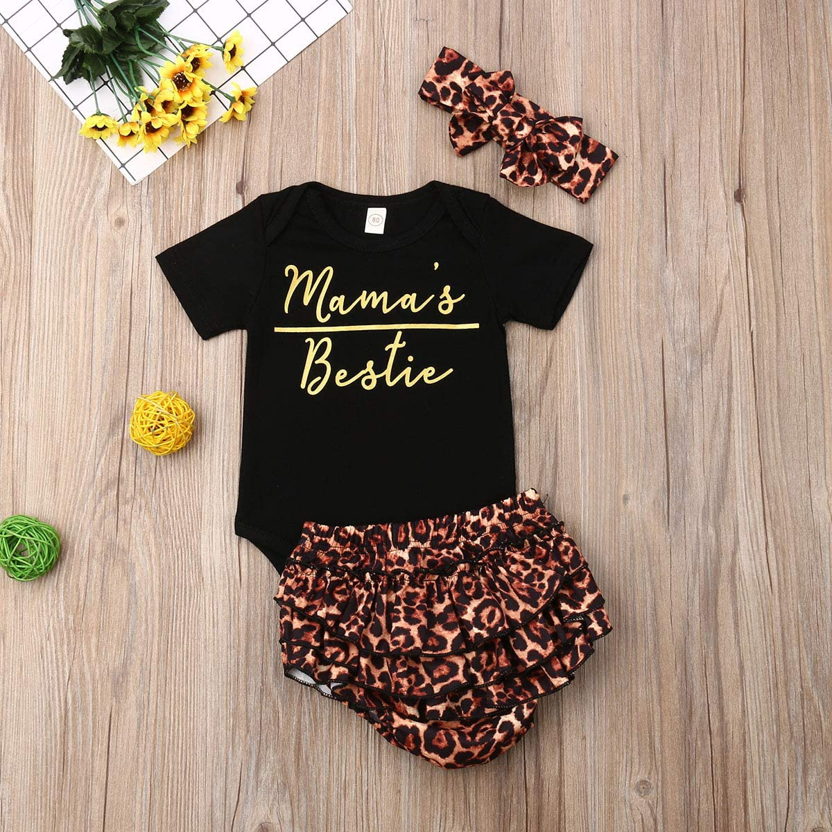 Longfei Baby Girls Mamas Bestie Romper Bodysuit Ruffles Leopard Shorts Briefs Bottoms Hairband Outfits Clothes