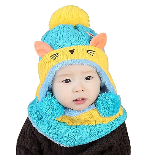 Amazon.com  WSLCN Unisex Baby Kids Hats Handmade Knitted Scarf Hats   Caps  Toddler Knitted Hoodie Winter Head Scarf Neck Warmer Cute Cat Hooded Scarf  Hats ... 5b8d9a61ae14