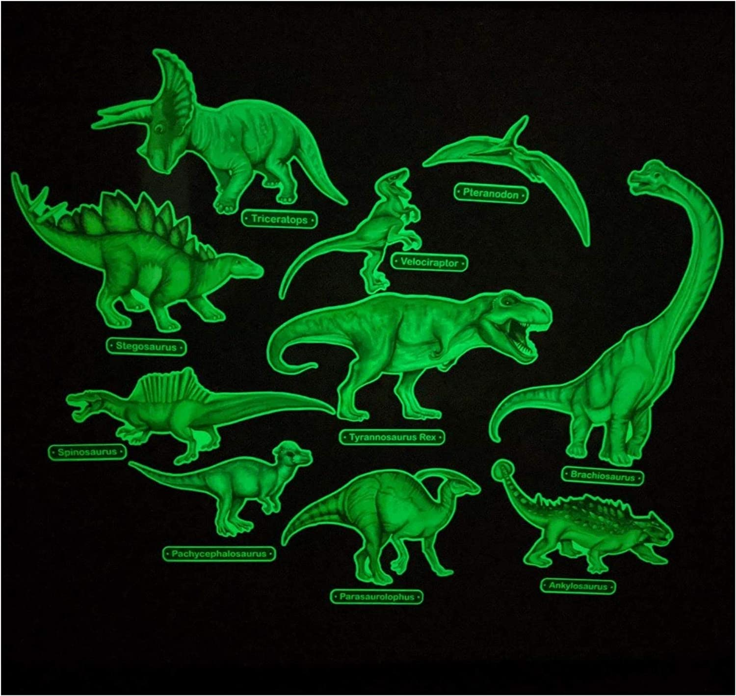 Glow in The Dark Dinosaur Wall Stickers - 10 Large Bright Wall Decals for Bedroom Walls and Ceilings - for Boys Room and Girls Room - Set 1