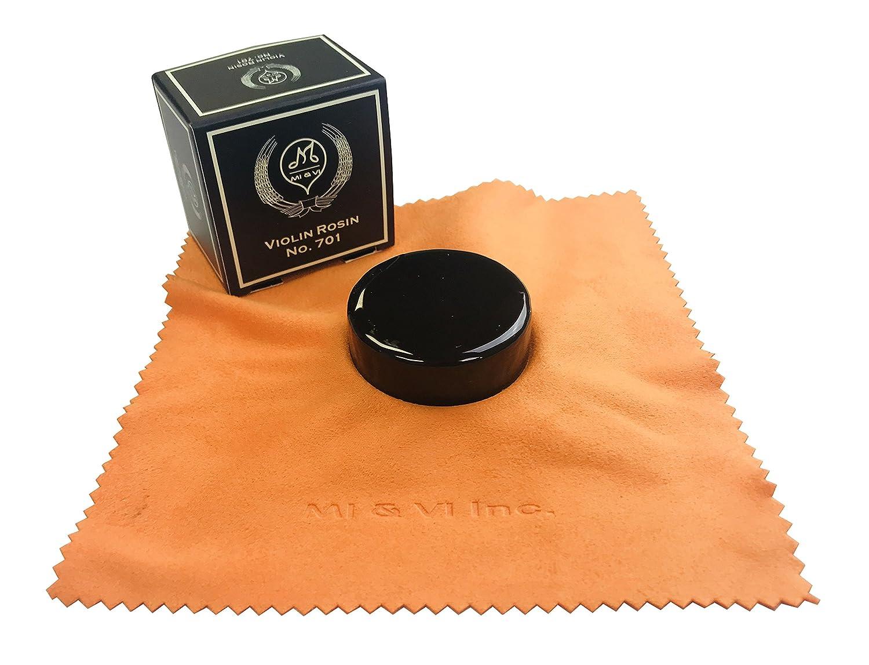 MI&VI Premium Quality Dark Rosin for Violin, Viola, Cello Bows - Black, Velvet Cloth, Round Shape Resin, Super Sensitive No. 701