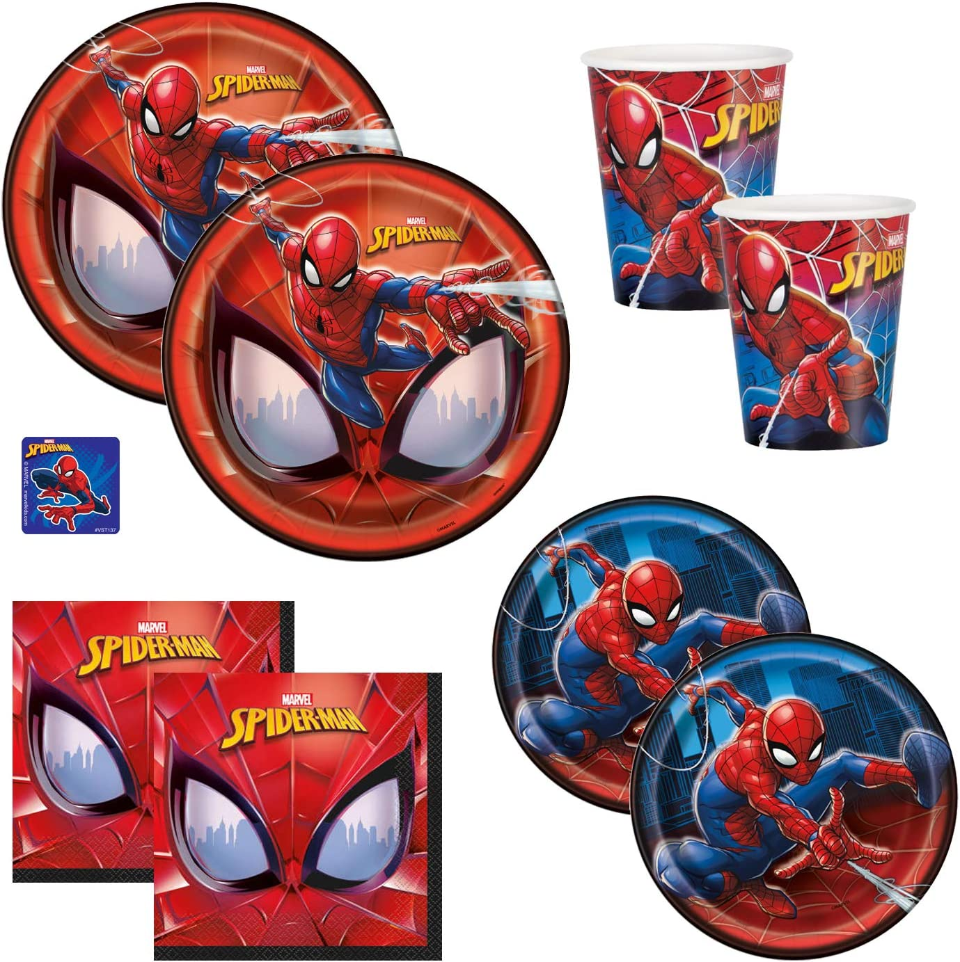 Amazon Com The Toy Express Spiderman Birthday Party Supplies Set Includes Dinner Plates Cake Plates Napkins And Cups Standard Serves 16 Toys Games