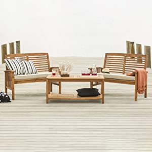 Walker Edison Rendezvous Modern 3 Piece Solid Acacia Wood Slatted Patio Chat Set, Set of 3, Brown