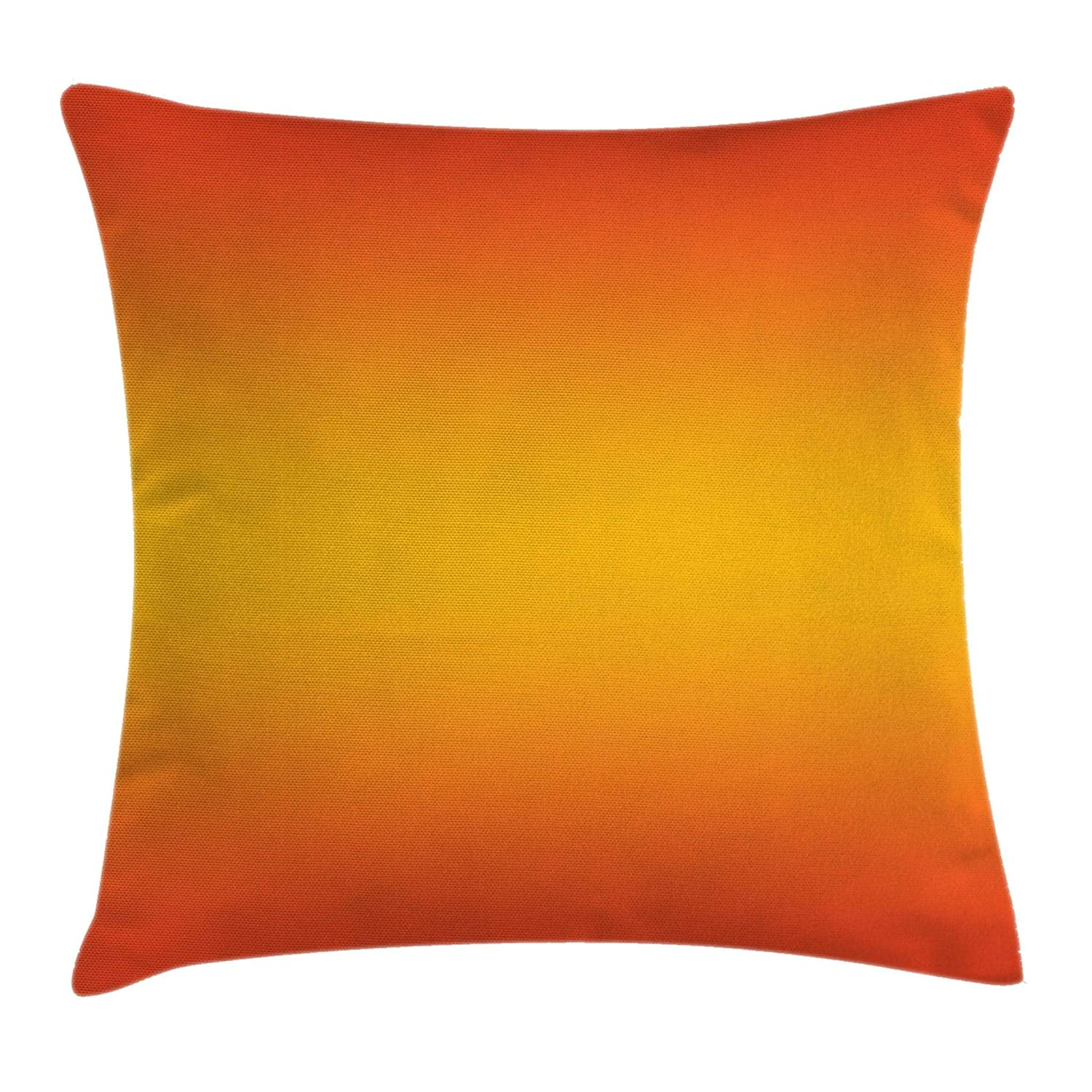 """Ambesonne Ombre Throw Pillow Cushion Cover, Tropical Sunset Seasons of The Year Inspired Summer Themed Design Modern, Decorative Square Accent Pillow Case, 18"""" X 18"""", Orange Yellow"""