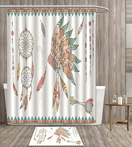 Duommhome Feather Shower Curtain Sets Bathroom Primitive Chief Headdress Arrows Dreamcatchers Native American Satin Fabric
