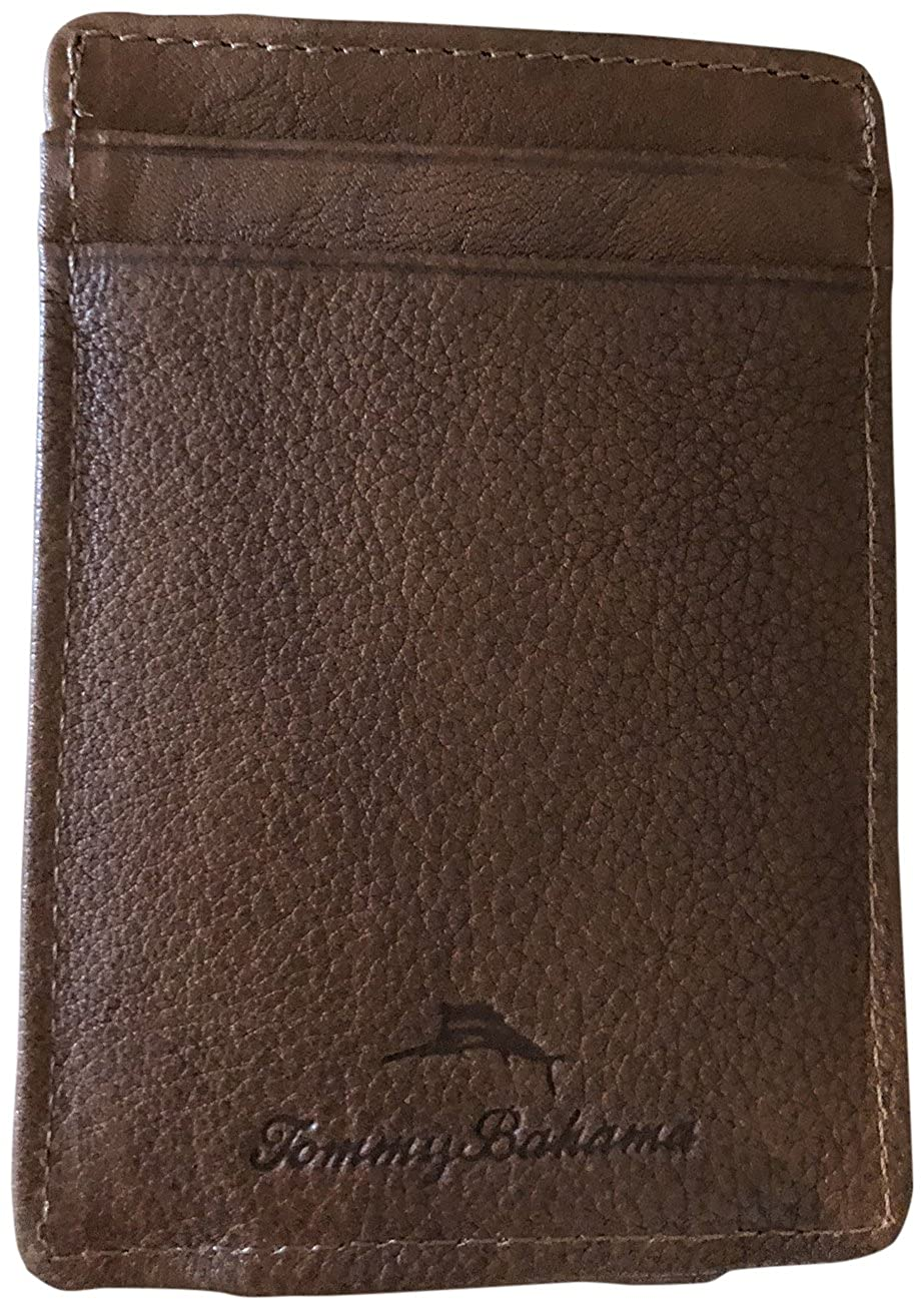Tommy Bahama Men's Card Case Wallet Magnetic Money Clip Brown 31TM16X003