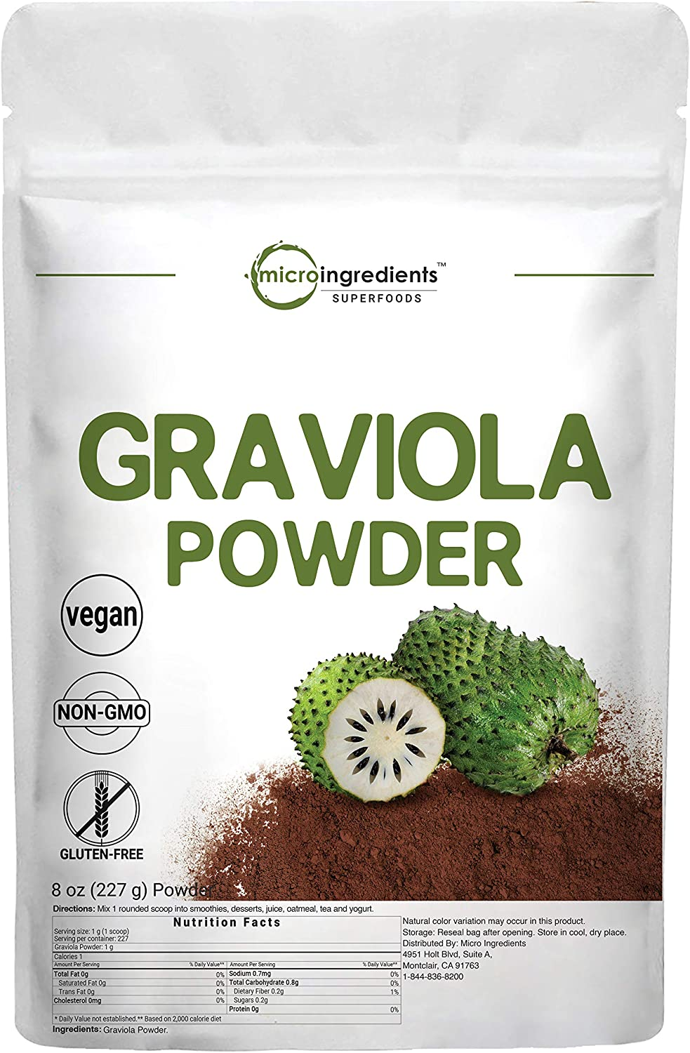 Pure Graviola Powder, 8 Ounce, for Healthy Skin and Cell Growth, Non-GMO, No Gluten