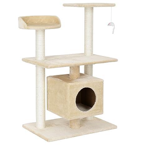 [en.casa] Rascador Para Gatos Árbol Para Gatos Trepar Sisal Juguetes - 60x40x95cm - natural beige crema