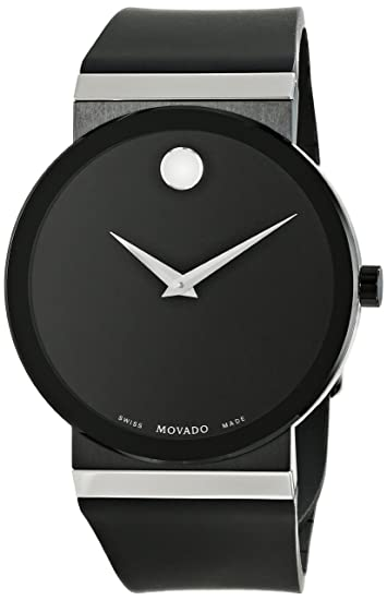 Amazon.com: Movado Mens 0606780 Sapphire Synergy Stainless Steel Watch with Black Rubber Band: Watches
