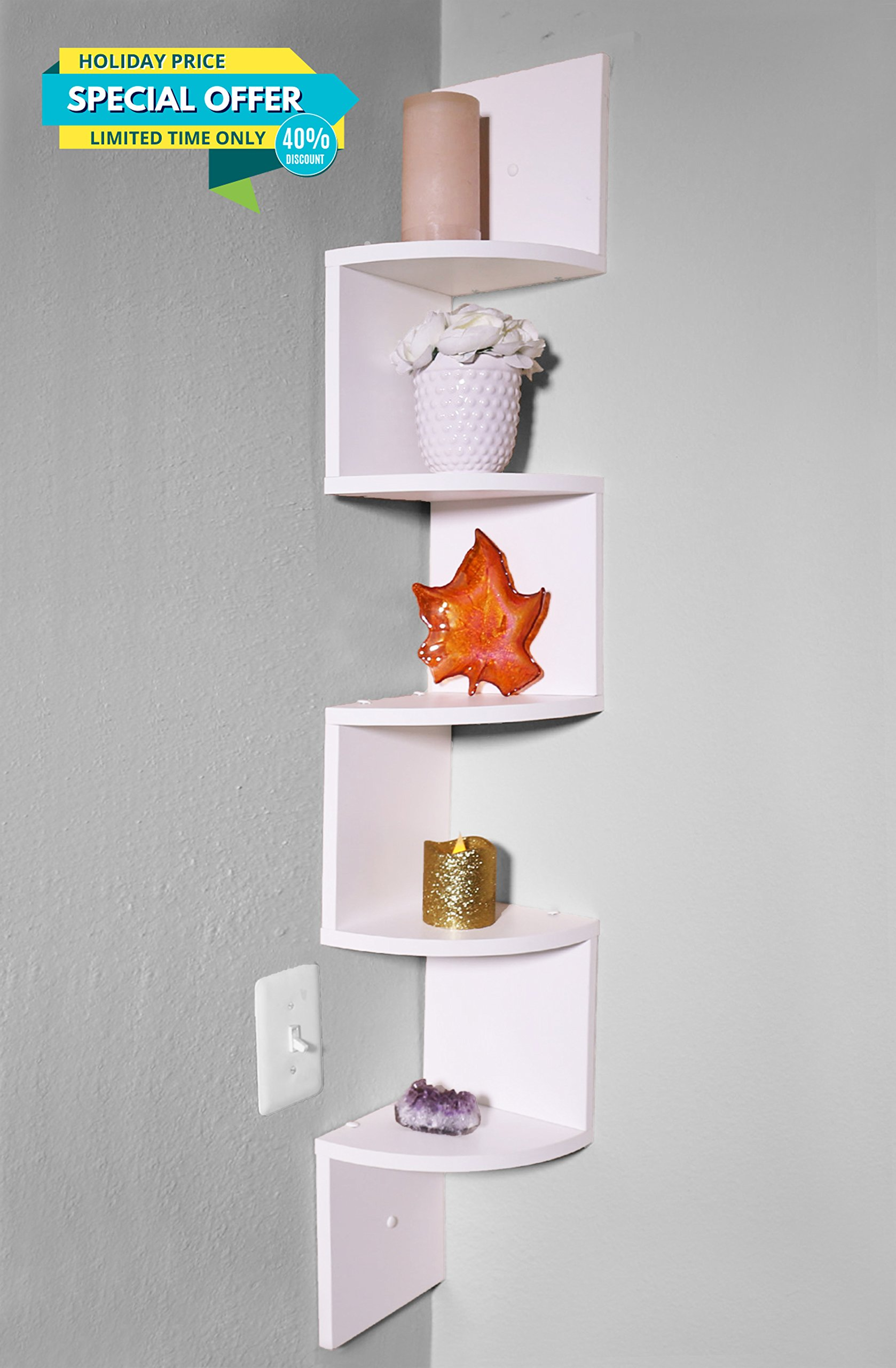 Adorn Home Essentials| Corner Zig Zag Wall Mount Shelves| 5-Tier, White Shelves