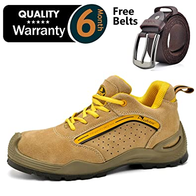 a334f6cbab33 SAFEYEAR Breathable Leather Safety Shoes  CE Certified  - 7296 Lightweight  Summer Site Safety Trainers with 4E Wide ...
