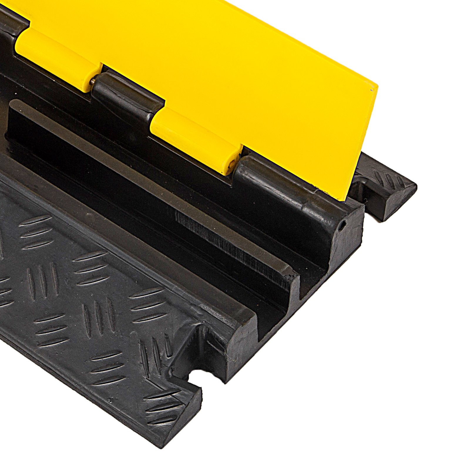 Happybuy 4 Pack Rubber Cable Protector Ramp 2 Channel Heavy Duty 66,000LB Load Capacity Cable Wire Cord Cover Ramp Speed Bump Driveway Hose Cable Ramp Protective Cover (2-Channel, 4Pack/66000Lbs) by Happybuy (Image #9)