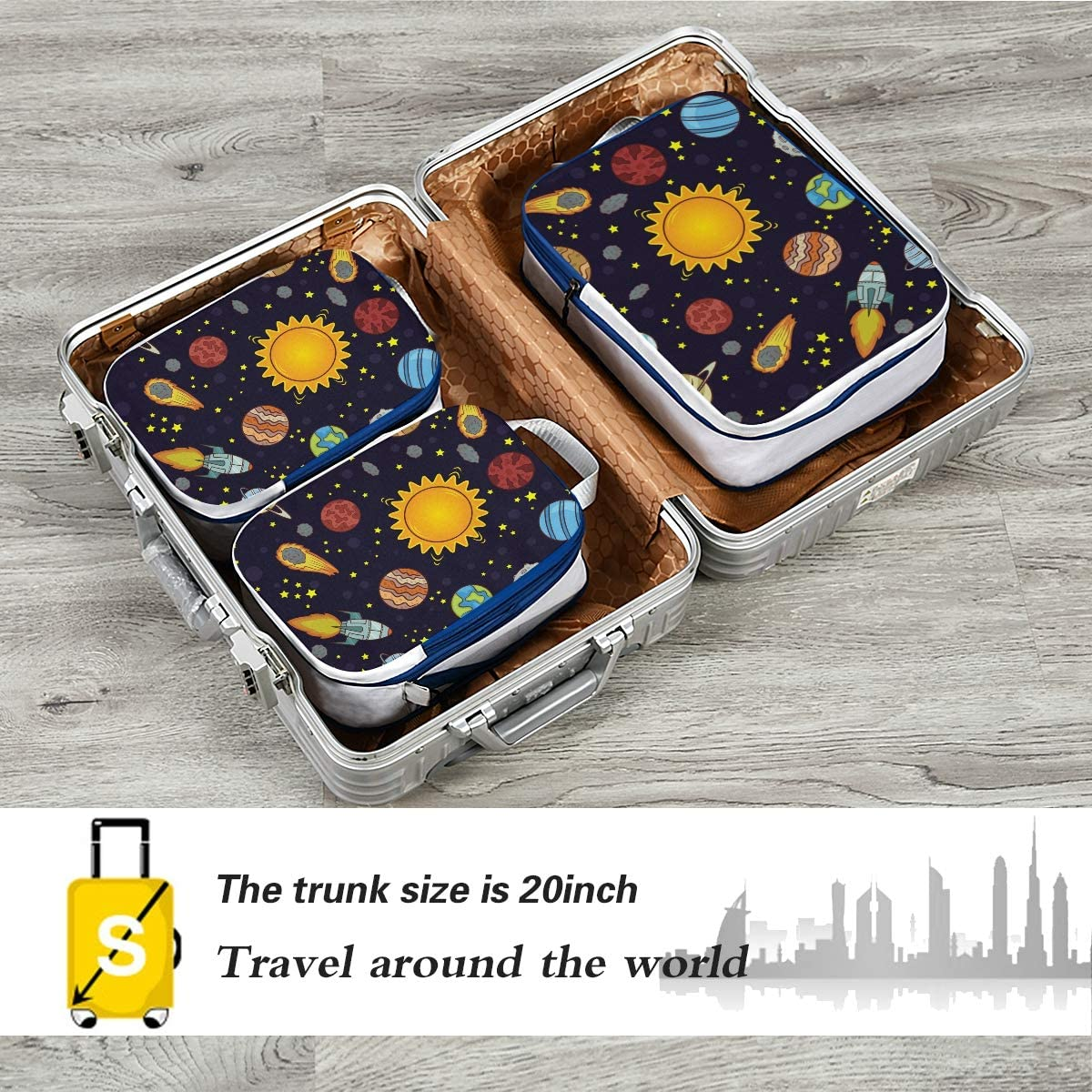 Space Pattern 3 Set Packing Cubes,2 Various Sizes Travel Luggage Packing Organizers l