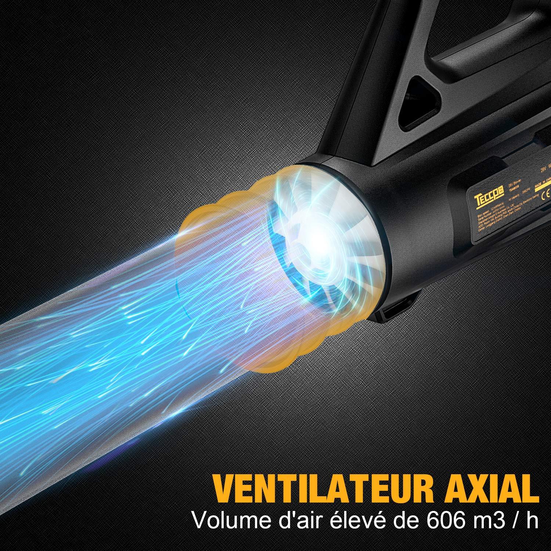 Vitesse de Soufflerie 54 m//s Ventilateur Axial TDAB03G D/ébit d/'Air 606 m/³//h Vitesses Variables 9000//16500 TR//Min Souffleur Electrique TECCPO Souffleur de Feuille 28V 4.0Ah