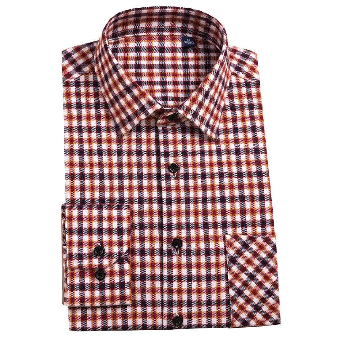 YUNY Mens Flannel Plaid Lounge Long-Sleeve Button Down Shirt 4 5XL