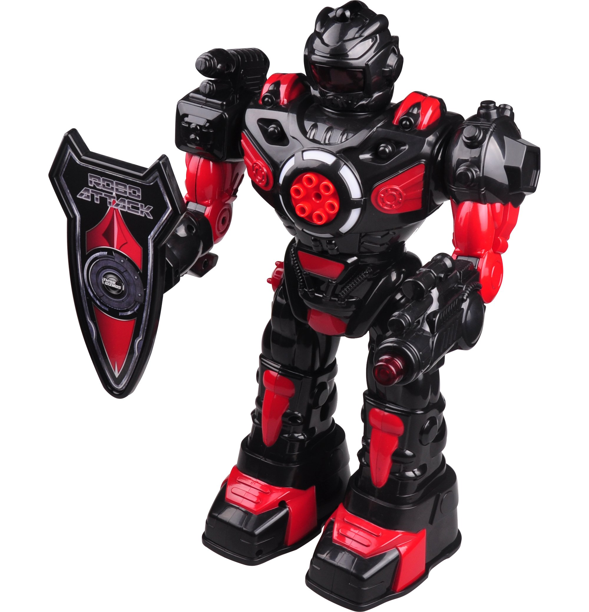 Remote Control Robot For Kids - RoboAttack TG630-R - Black & Red - Superb Fun Toy RC Robot - Shoots Missiles, Walks, Talks & Dances By ThinkGizmos