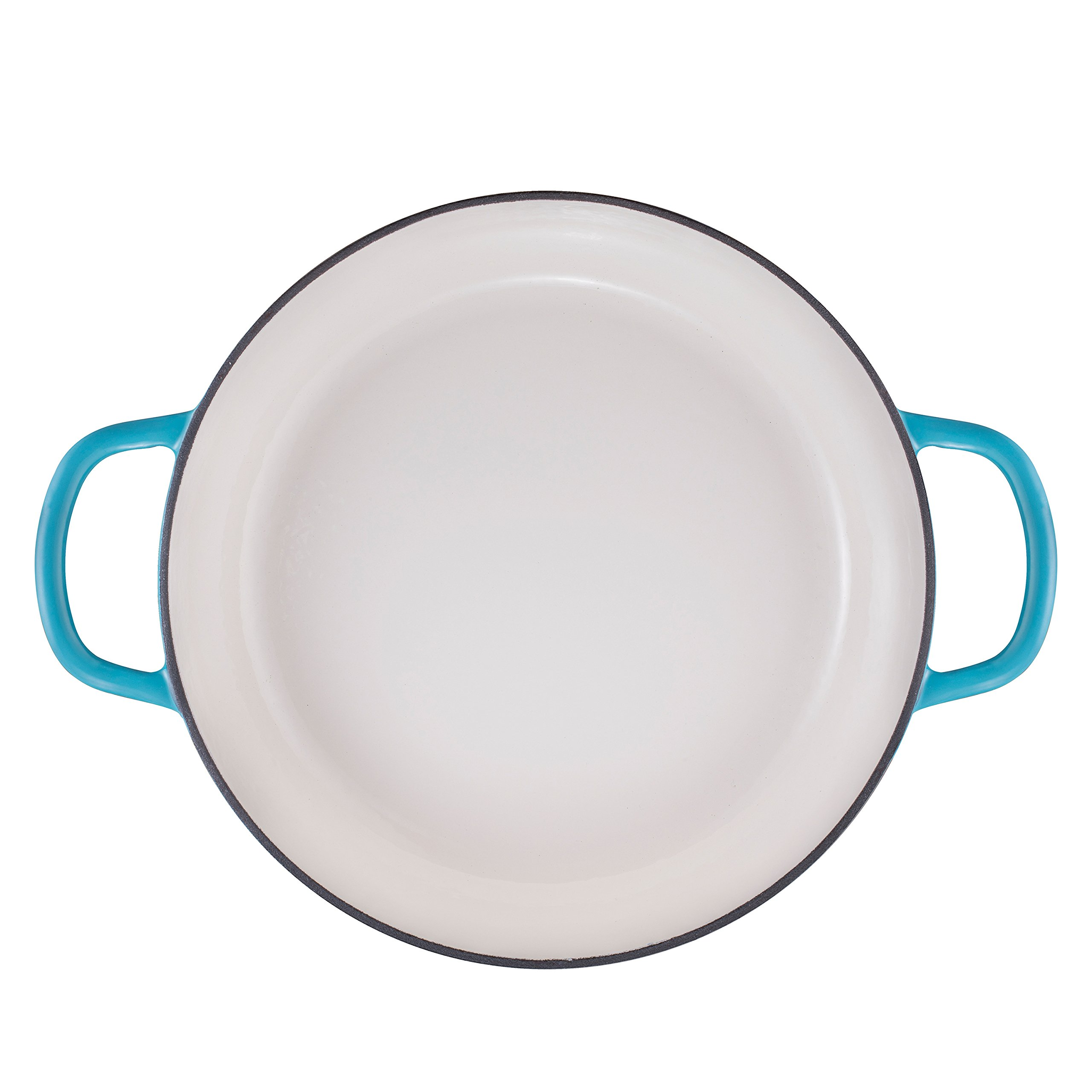 Enameled Cast Iron Shallow Casserole Braiser Pan with Cover, 3.8-Quart, Marine Blue by Bruntmor (Image #8)